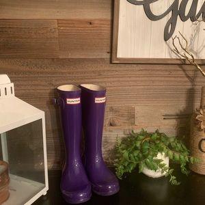 Purple Patent girls Hunter boots size 13